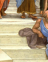 "Close-up of Raphael's painting, ""The School of Athens"""