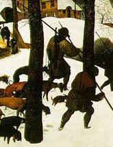 "Close-up of ""Hunters in the Snow"" by Pieter Bruegel"