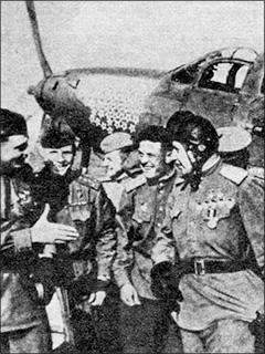 Ace Alexander Pokryshkin and his fellow pilots