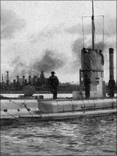 Part of a photo of the German submarine U-14 (source: Wikipedia)