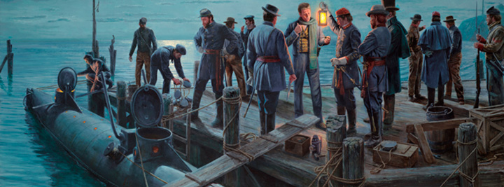 Close up of Mort Kunstler's painting, The Final Mission